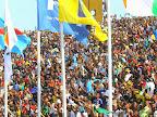 Une joie écourtée des supporteurs, des Léopards de la RDC le 11/10/2014 au stade Tata Raphaël à Kinshasa lors de la défaite contre les Eléphants de la Côte d'Ivoire score: 1-2. Radio Okapi/Ph. John Bompengo