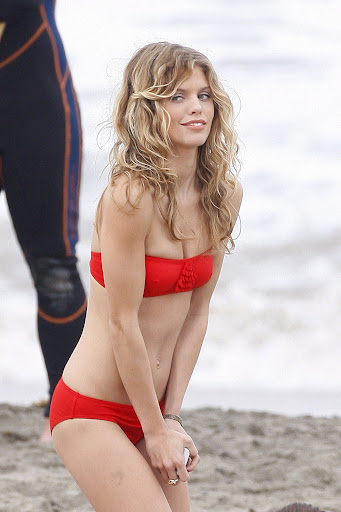 AnnaLynne McCord in a bikini on LA Beach