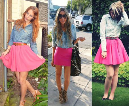 Como usar saia cor de rosa com camisa jeans