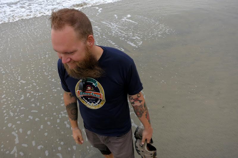 Beard blowing in the wind
