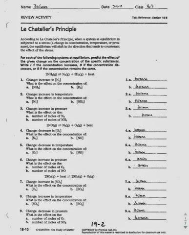 OpiumChem: Le Chateliers Principle Worksheet