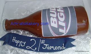 Custom 3D Bud light beer bottle unique 21st birthday fondant cake design