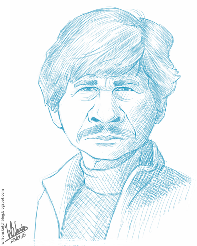 Cartoon caricature sketch of Charles Bronson.