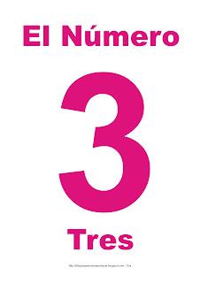 Lámina para imprimir el número tres en color magenta