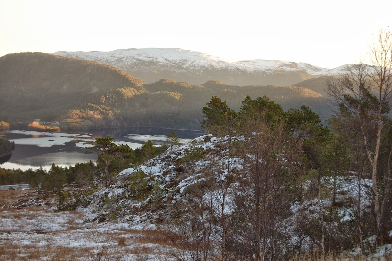 A low sun bleaches out the sky. Snow capped mountains in the background, a tree covered in the mid-ground. A still lake, and rocky outcroppings in the fore with light snow.