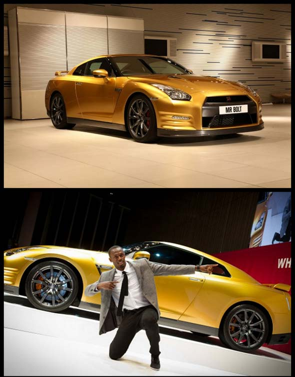 usain bolt with nissan GTR 2013