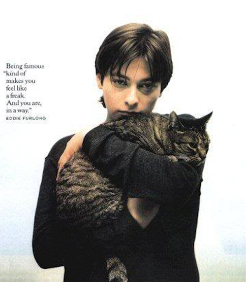 Eddie Furlong and a cat
