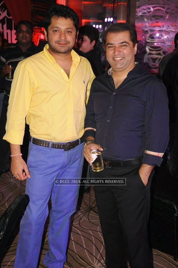 Gautam Kale and Nitin Mulani during birthday party, held at Hotel Centre Point, in Nagpur.