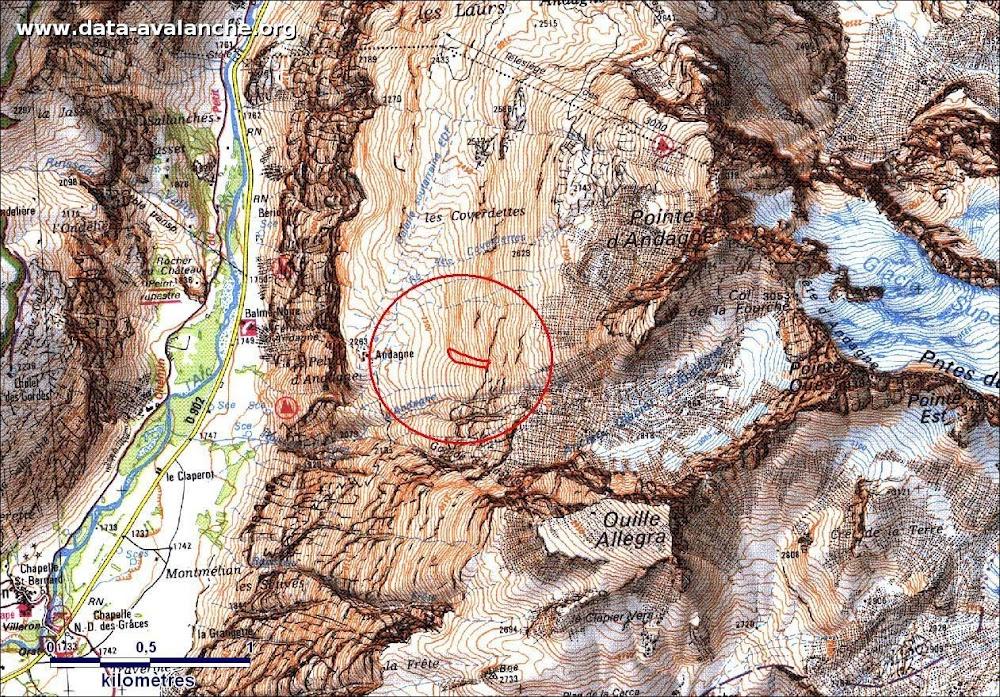 Avalanche Haute Maurienne, secteur Pointe d'Andagne, Pentes Ouest, depuis TS des 3000 - Photo 1