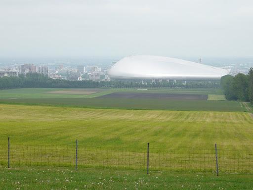 遠くに札幌ドームが見えます