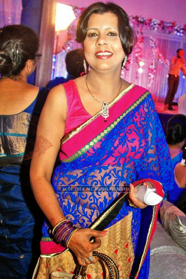 Jyoti at Harsh and Khushboo's engagement ceremony coinciding with Vipul and Anuj Varshney's 25th wedding anniversary in Lucknow.