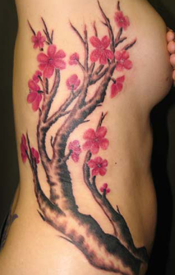 Pink Cherry Tattoo Design, Pink Cherry Tattoo