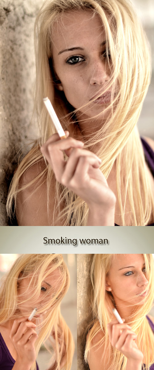 Stock Photo: Smoking blonde woman