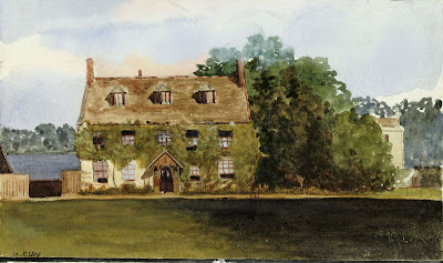 """Manor Farm House painted by his sister Miss Marion Clay about 1888."" From A Record of Shelford Parva by Fanny Wale P73"