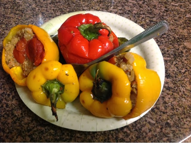 vegan roasted stuffed peppers