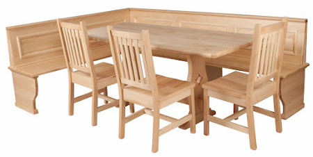 """72"""" x 32"""" Bordeaux Dining Table, Gustavus Chairs, and Custom Corner Bench in Natural Hard Maple"""