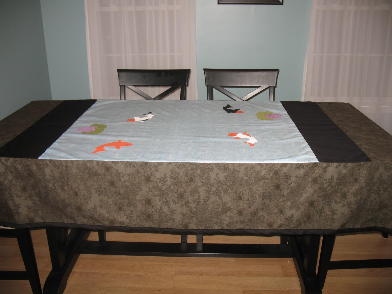 Crafting with kista koi fish pond table cloth for Koi pool table