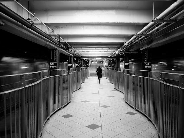 Between subway trains