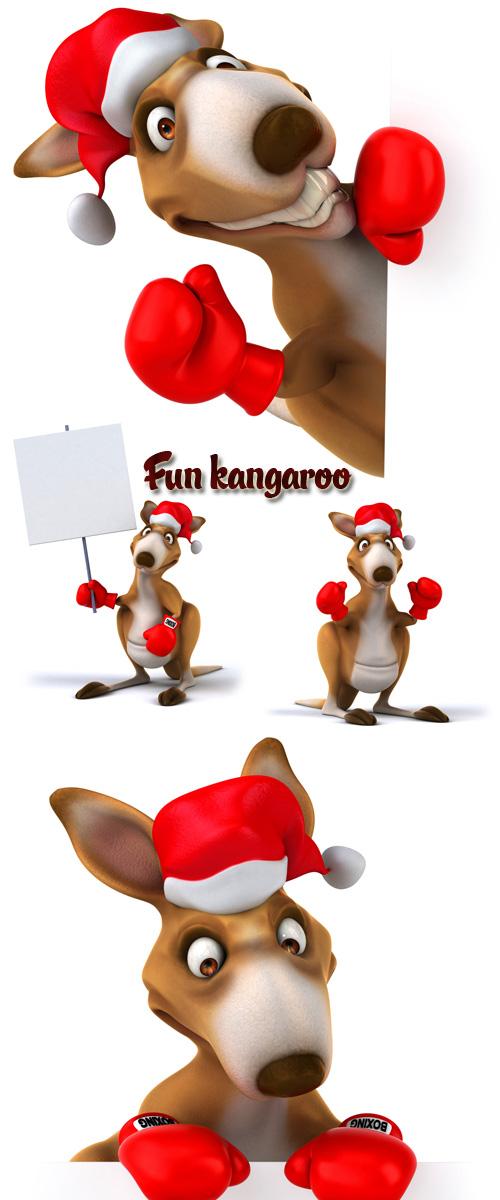 Stock Photo: Fun kangaroo in Santas red cap