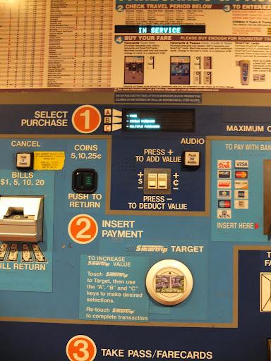 ワシントンの地下鉄の券売機