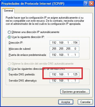 Configuración de red equipo cliente