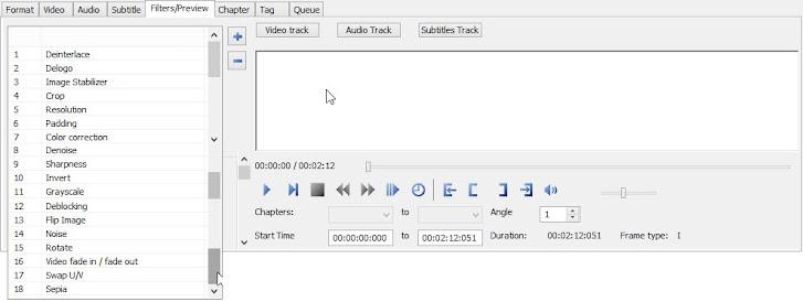 XMedia Recode, filters tab