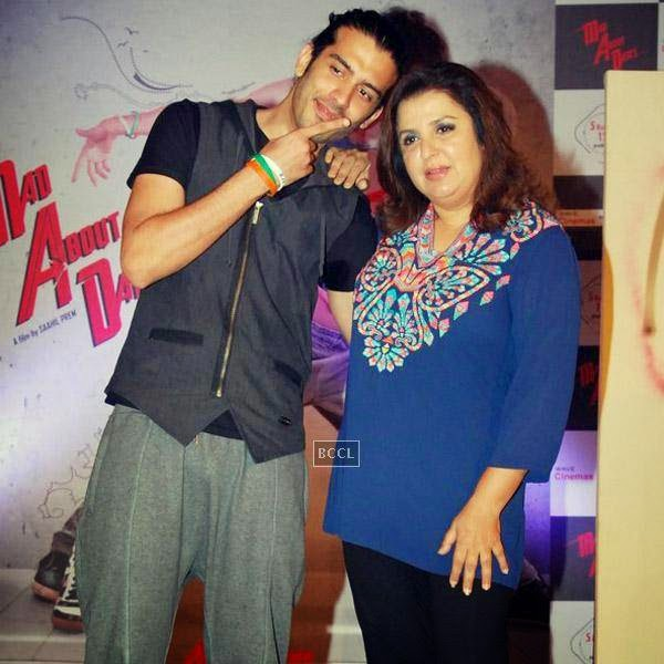 Farah Khan poses with Saahil Prem during the trailer launch of Bollywood movie Mad About Dance, held at Fun Republic, on July 16, 2014.(Pic: Viral Bhayani)