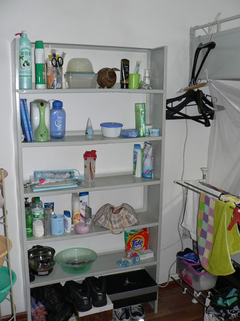 shelving unit in a dorm room at Dalian Maritime University in China