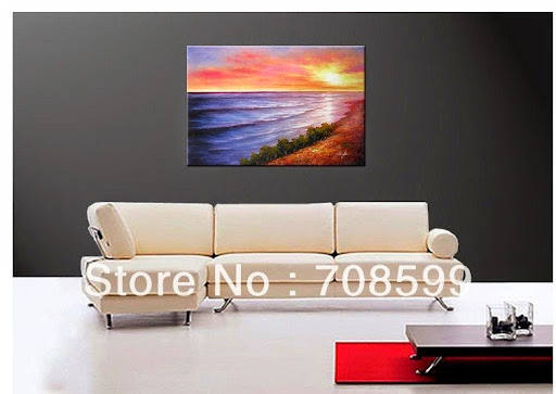 beach and sunset canvas art 100% Hand paitned oil wall