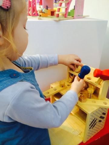 wooden travel toy Boxset work bench tool set