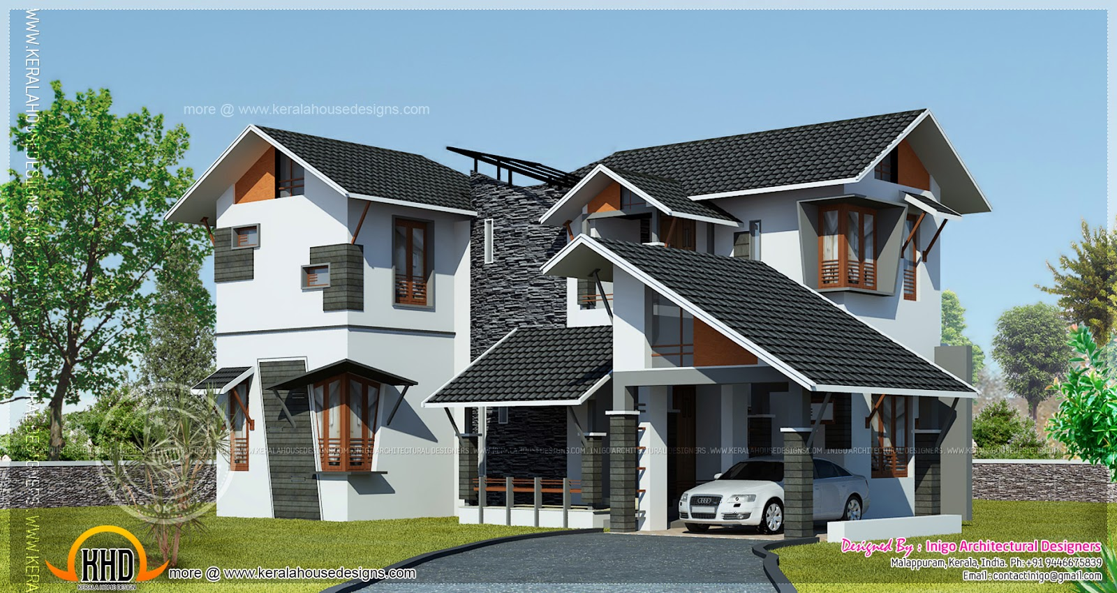 Contemporary Home Designs At Malappuram Part - 41: 1700 Square Feet Modern 4 Bed Room Home