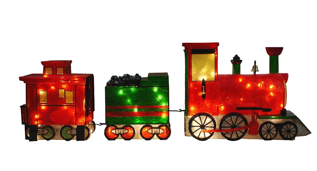 Barcana 30-Inch Illuminated Fiberglass Choo Choo Train--Locomotive, Freight Car and Caboose Outdoor