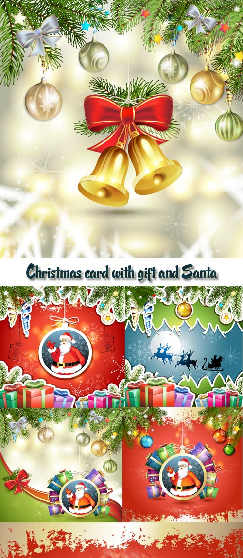 Stock: Christmas card with gift and Santa