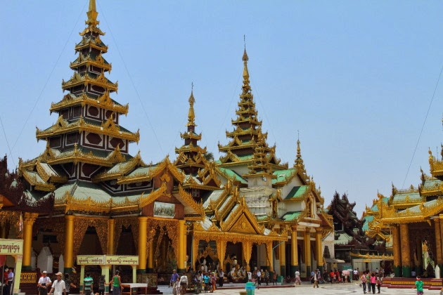 Beautiful architecture of Shwedagon Pagoda, Yangon, Burma