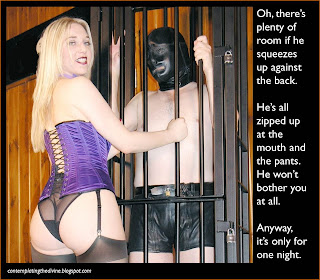 Dominatrix squeezes both men into her cage