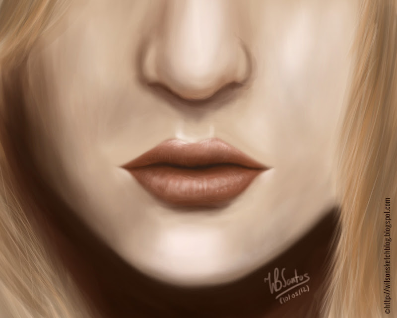 Digital painting - Lips study, using Krita.