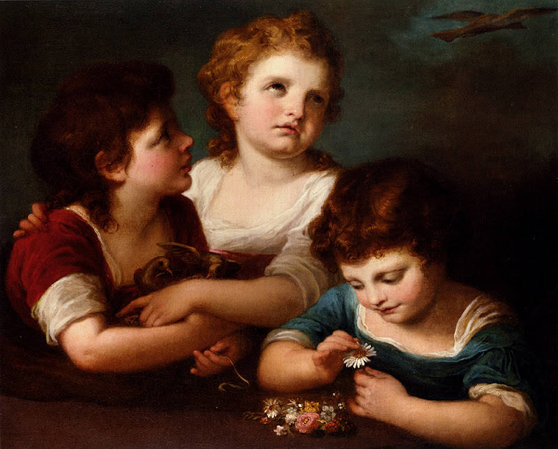 Angelica Kauffmann - Children With A Birds Nest And Flowers