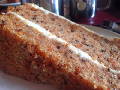 Homemade carrot cake at Ormesby hall, A National trust property near Middlesbrough