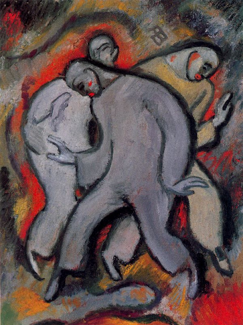Albert Bloch - The Three Pierrots No. 2