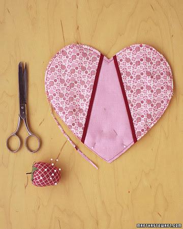 costurar coração de patchwork