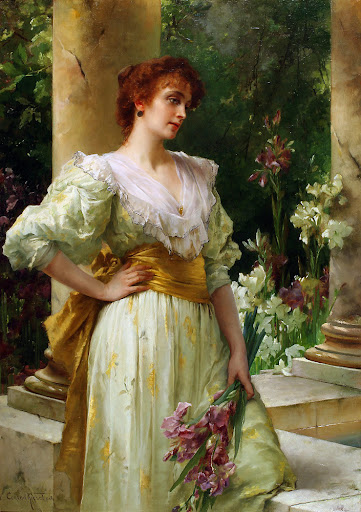 Conrad Kiesel - Woman in White Holding Irises