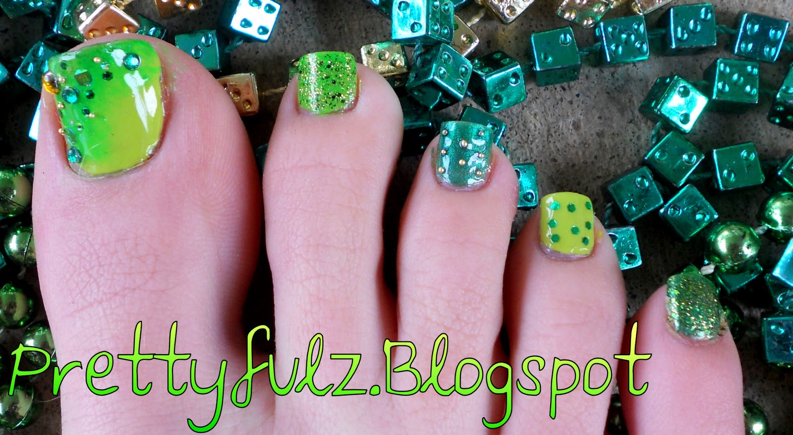Saint patrick s day pedicure nail art design