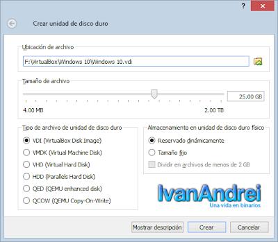 Instalación de Windows 10 - VirtualBox - Disco Duro