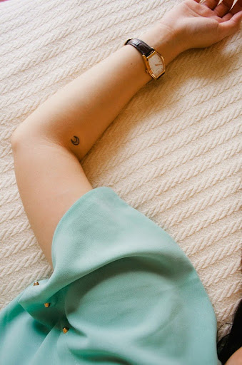 small moon tattoo for girls
