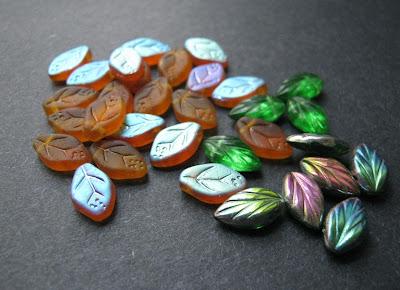 Czech Glass Vitrail Leaf Beads