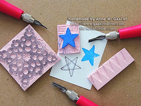 Video Tutorial on How to Carve Your Own Stamps at http://www.gaalcreative.com