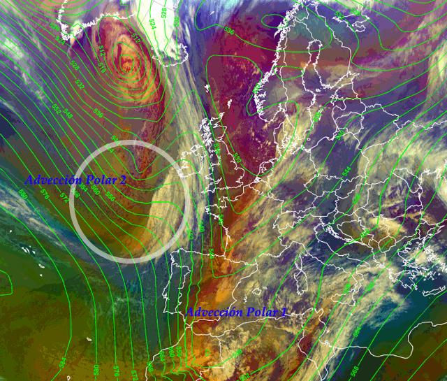 Una nueva advección polar se aproxima a la Península Ibérica