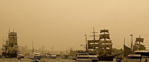 In sepia.  Celebrating Australia Day in Sydney Harbour