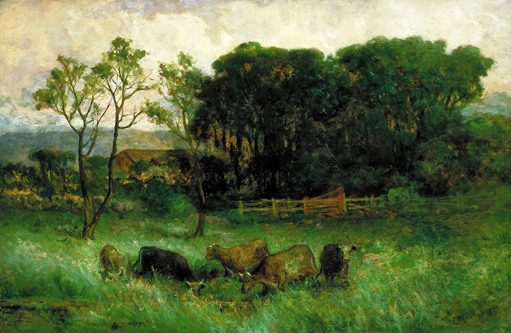 Edward Mitchell Bannister - Untitled (five cows in pasture)