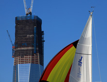 J/105s sailing - Freedom Tower in background in New York
